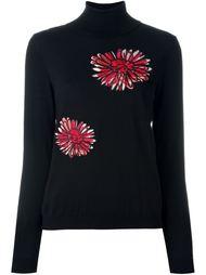 свитер-водолазка с цветочной вышивкой Boutique Moschino