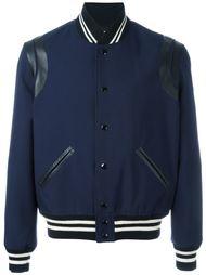 куртка-бомбер с кожаными панелями Saint Laurent