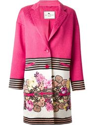 пальто с контрастным цветочным принтом Etro