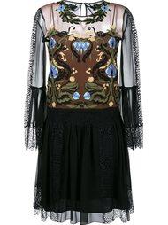 прозрачное платье с вышивкой Alberta Ferretti