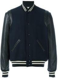 куртка-бомбер с кожаными рукавами Saint Laurent