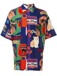 рубашка с принтом собак и котов Moschino Vintage