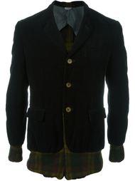 бархатный пиджак с панелями в клетку Comme Des Garçons Vintage