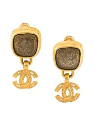 клипсы с подвеской-логотипом Chanel Vintage
