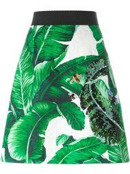 юбка с лиственным принтом  Dolce & Gabbana
