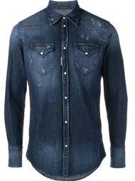 джинсовая рубашка с протертыми деталями Dsquared2