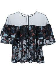 прозрачная блузка с цветочной вышивкой  Cinq A Sept