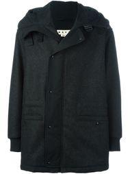 меланжевое пальто с капюшоном Marni