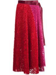 кружевная плиссированная юбка миди  Sacai