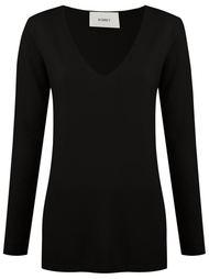 v-neck knit blouse Egrey