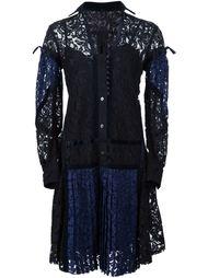 кружевное платье с плиссировкой Sacai