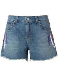 embroidered feather denim shorts Sandrine Rose