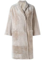однобортное меховое пальто  Brunello Cucinelli