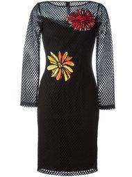 сетчатое платье с цветочными аппликациями Boutique Moschino