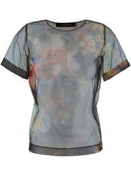 прозрачная футболка с цветочным принтом   Cédric Charlier