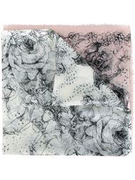 шарф с принтом роз  Alexander McQueen