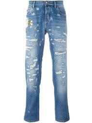 джинсы с цветочной вышивкой  Dolce & Gabbana