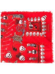 платок с узором в виде черепа и леопарда Alexander McQueen
