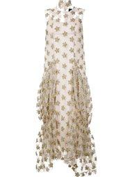 длинное платье с цветочными элементами Simone Rocha