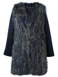 меховое пальто с контрастными рукавами Twin-Set