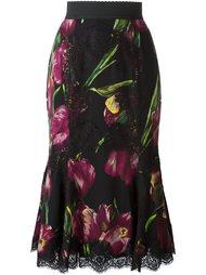 юбка с принтом тюльпанов Dolce & Gabbana