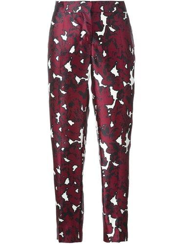 брюки с цветочным принтом   Oscar de la Renta