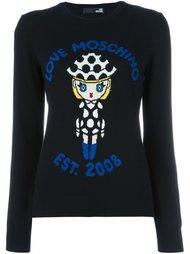 свитер с изображением куклы  Love Moschino