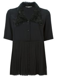 embellished collar pleated blouse Marco De Vincenzo