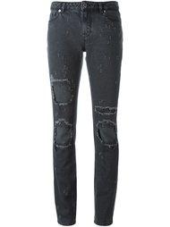 джинсы с рваными деталями   Givenchy