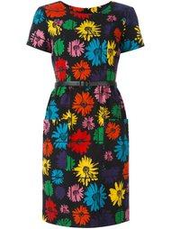 платье с поясом и цветочным принтом Moschino