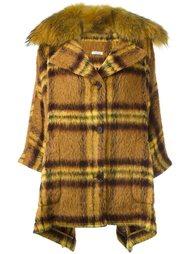 клетчатое пальто с оторочкой из меха P.A.R.O.S.H.