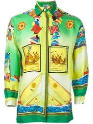 рубашка с принтом кораблей Versace Vintage