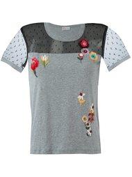 футболка с цветочным украшением из пайеток Red Valentino
