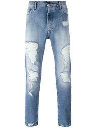 джинсы с рваными деталями   Palm Angels