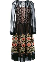 прозраное платье с цветочной вышивкой  Alberta Ferretti