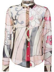 прозрачная рубашка с цветочным принтом Red Valentino