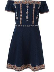 платье с вышивкой и открытыми плечами Tory Burch