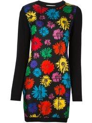 вязаное платье с цветочным принтом   Moschino