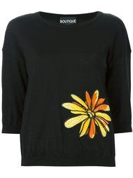 свитер с цветочной вышивкой Boutique Moschino