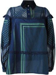 блузка с комбинированным принтом Sacai