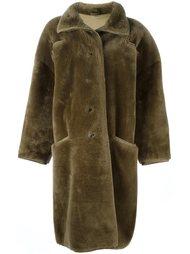 объемное пальто из искусственного меха Versace Vintage