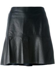 расклешенная кожаная юбка Coach