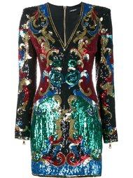 платье с узором Барокко из пайеток Balmain