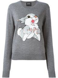 свитер с вышивкой пайетками в виде кролика Markus Lupfer