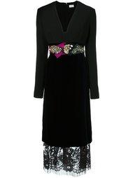 декорированное платье с V-образным вырезом Lanvin