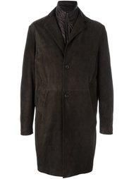однобортное кожаное пальто  Canali