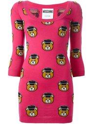 приталенное платье с принтом плюшевых медведей Moschino