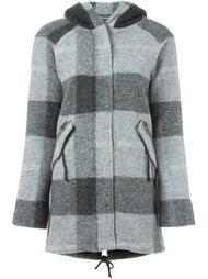 клетчатое пальто с капюшоном Woolrich