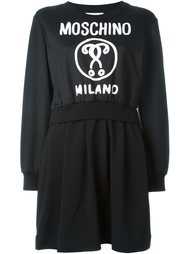 платье с принтом логотипа  Moschino