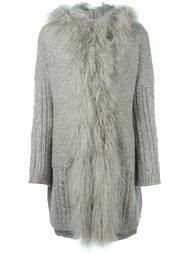 вязаное пальто с меховой отделкой  Twin-Set
